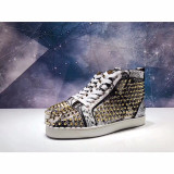 Christian Louboutin White Python High Top Gold Spikes Flats Men Sneakers