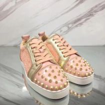 Christian Louboutin Sneaker Low Top Junior Pink With Strass Spikes Women or Men Shoes