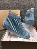 Christian Louboutin Light Blue High Top Spikes Flats Men Sneakers