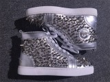 Christian Louboutin Silver High Top Pik Pik Spikes Flats Men Sneakers