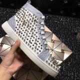 Christian Louboutin White Python High Top Pik Pik Spikes Flats Men Sneakers