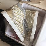 Christian Louboutin High Top Gold Spikes Men Shoes Louis Flat