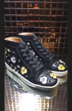 Christian Louboutin Black Leather With CL Badge High Top Flats Men Sneakers