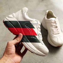 Rhyton Web print leather sneaker white and rainbow print