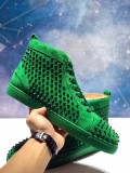 Christian Louboutin Green Suede High Top Spikes Flats Men Sneakers