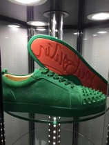 Christian Louboutin Sneaker Low Top Junior Green Suede Spikes Shoes