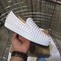 Louboutin For Man Sneakers Christian Louboutin Flat White Leather Spike Boat Shoes