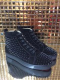 Christian Louboutin Black Suede High Top Spikes Flats Men Sneakers