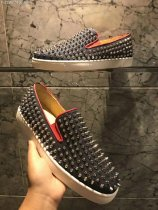 Christian Louboutin Denim Blue With Spike Boat Shoes