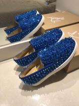 Christian Louboutin Blue Strass With Spike Boat Shoes Louboutin For Man Sneakers
