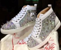 Christian Louboutin Pik Pik White Spikes With Strass Louis Flats Men Shoes