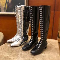 dior women boot long style silver or black