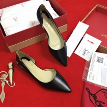christian louboutin women black flat shoes