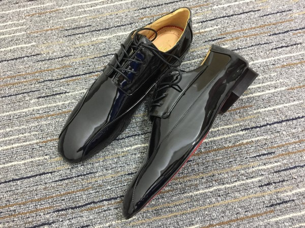Christian Louboutin Black Patent Leather Loafer Men Shoes
