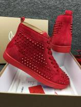 Christian Louboutin Red Suede High Top Spikes Flats Men Sneakers