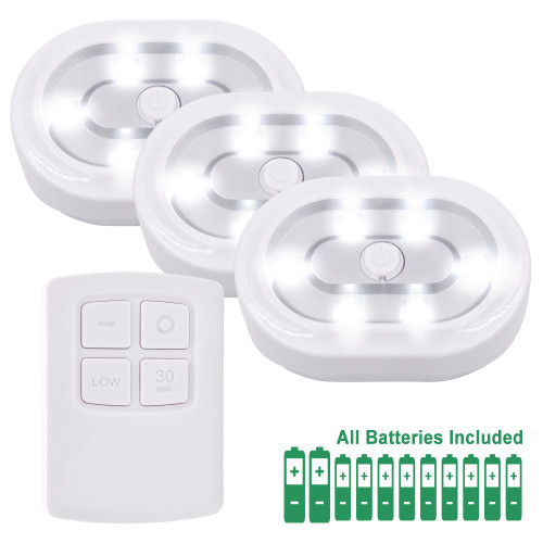 Wireless Remote Control LED Under Cabinet Puck Lights Battery Powered LED Night Lights Controlled with RF Remote, Dimmable and Timer Functions Strong Magnets, 3 Lamps and 1 Remote