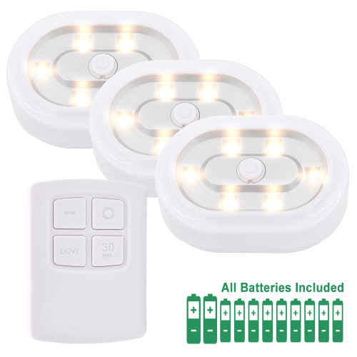 Wireless Dimmable Under Cabinet LED Puck Lamps LED Night Lights Kit with Remote Control Warm White Lighting 3 Lamps and 1 RF Remote Controller with Dimmable and Timer Functions