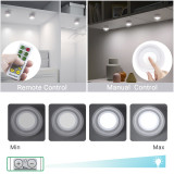 Remote Control Dimmable LED Puck Night Lights LED Cabinet Lamps Cupboard Lights with Timer Function Cool White Lighting 4 Lamps and 1 Remote