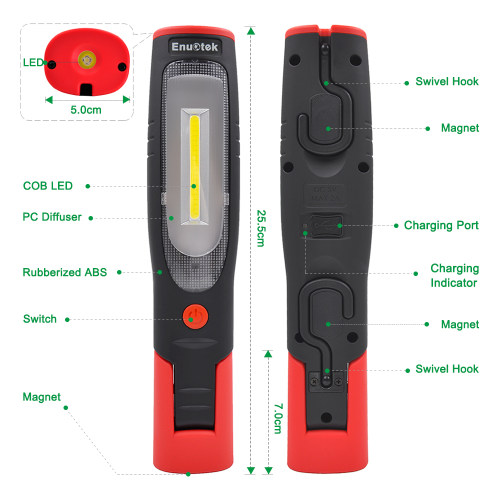 Rechargeable LED Work Light Portable Cordless LED Inspection Lamp Super Bright LED Torch Light- Front 3W COB LED and Top 3W LED- Foldable, Magnetic, Dual Hooks- Essential Work Job Tool