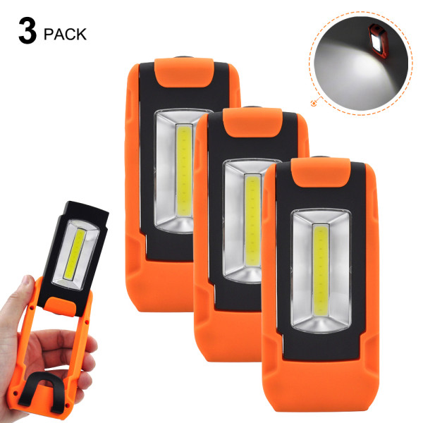 Battery Operated Foldable 3W COB LED Torch Portable Handheld LED Work Light Inspection Lamp Cordless Magnetic with Hanging Ring