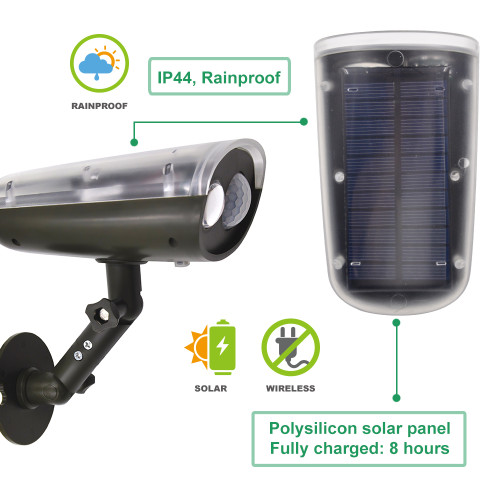Outdoor Solar Powered Motion Sensor 3W LED Security Wall Spotlight Garage Door Spot Light Cool White Lighting 6000K High Brightness 250Lm Dusk to Dawn PIR Motion Sensor