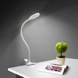 USB Operated White Clip On LED Table Light Touch On LED Desk Reading Lamp Computer Light with Flexible Gooseneck, Eye Care Daylight Lighting