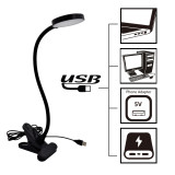 USB Powered Black Clip On LED Desk Lamp Touch On LED Table Reading Lamp Laptop Work Light with Flexible Gooseneck, Eye Care Daylight Lighting