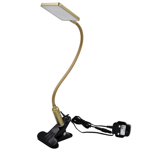 Touch Control Dimmable Clip On LED Table Lamp Metal Gold LED Desk Lamp Swing Arm LED Reading Light Eye Care Natural White Lighting Color