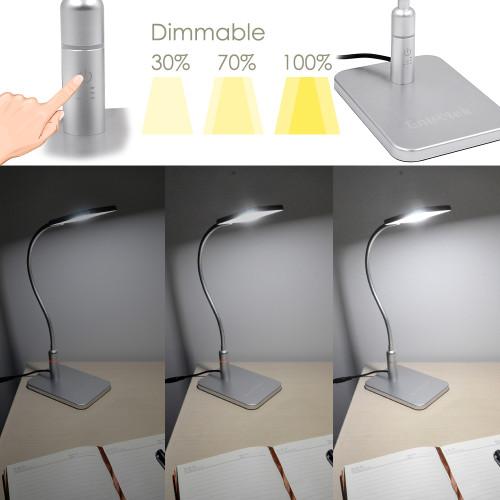 Touch Dimmable Flexible LED Desk Lamp Silver Metal LED Table Reading Light Bedside Lamp, Energy Saving 5W LED, Eye Protection Daylight Lighting 5000K