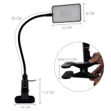 Touch Dimmable Clip On LED Desk Lamp Black LED Table Light Metal LED Reading Light with Flexible Gooseneck Eye Care White Lighting Color