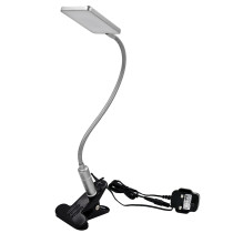 Touch Dimmable Clip On LED Table Lamp Silver LED Desk Lamp Metal Swing Arm LED Reading Light Eye Care Natural White Lighting Color