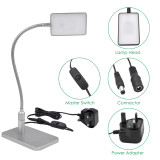 Touch Dimmable Flexible LED Desk Lamp Silver Metal LED Table Reading Light Bedside Lamp, Energy Saving 5W LED, Eye Protection Daylight Lighting 5000K