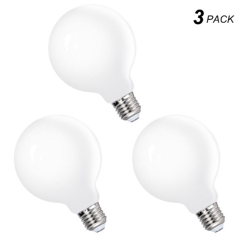 G95 LED Large Globe Light Bulbs Edison E27 Energy Saving Lamps 6W Cool White Omnidirectional Lighting 5000K with Glass Lamp Shade Replace 60W Incandescent Lamps 3 Pack