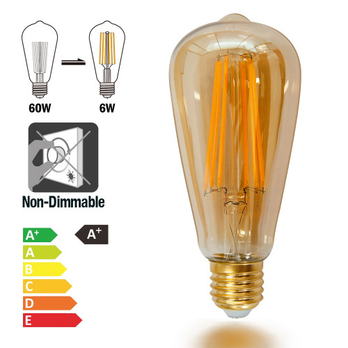 ST64 Vintage Edison LED Long Filament Light Bulb ST21 6W Screw E26 E27 Old Fashioned Decorative LED Light Bulb Retro Coated Glass Lamp Shade 60W Incandescent Lamp Replacement 1 Pack