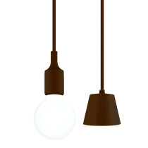 Brown Decorative Kitchen LED Ceiling Pendant Light Fixture with G95 LED Big Globe Light Bulb 6W Cool White Lighting Maximum 168CM Adjustable Height 1 Lamp and 1 LED Bulb