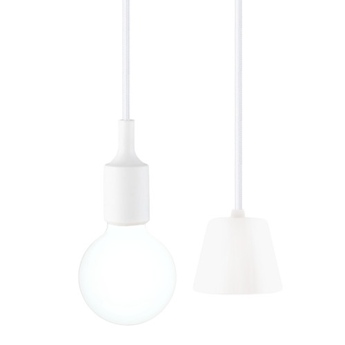 White Multi LED Hanging Pendant Light Lamp Kit with G95 LED Globe Light Bulb Cool White Lighting Maximum 168CM Adjustable Height 1 Lamp and 1 LED Bulb