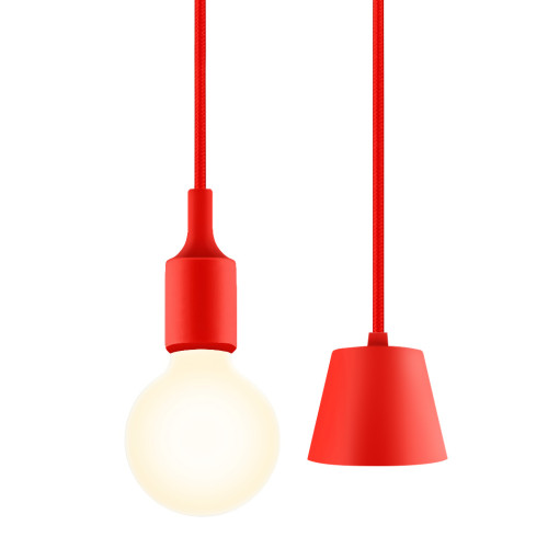 Red DIY Office Hallway Ceiling Hanging Pendant Light Fixture with G95 LED Globe Light Bulb Warm White Lighting Maximum 168CM Adjustable Height 1 Lamp and 1 LED Bulb