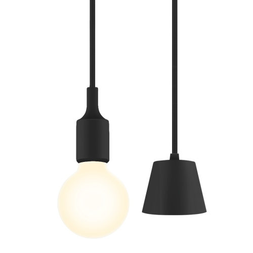 Black LED Ceiling Hanging Pendant Light Fixture with G95 LED Globe Light Bulb Warm White Lighting Maximum 168CM Adjustable Height 1 Lamp and 1 LED Bulb