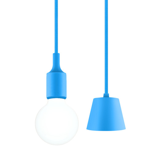 Light Blue DIY LED Ceiling Hanging Pendant Light Fitting with G95 LED Big Globe Light Bulb for Home 6W Cool White Lighting Maximum 168CM Adjustable Height 1 Lamp and 1 LED Bulb