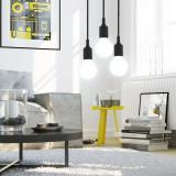 Black Decorative LED Ceiling Hanging Pendant Light Fixture with G95 LED Big Globe Light Bulb 6W Cool White Lighting Maximum 168CM Adjustable Height 1 Lamp and 1 LED Bulb