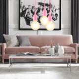 Pink Modern Kitchen LED Ceiling Hanging Lamp Light Fixture with G95 LED Globe Light Bulb Warm White Lighting Length Maximum 168CM 1 Lamp and 1 LED Bulb