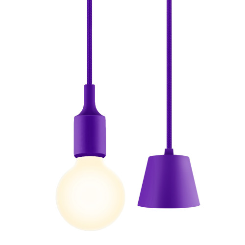Purple Living Room LED Ceiling Hanging Pendant Light Fixture with G95 LED Globe Light Bulb 6W Warm White Lighting Length Maximum 168CM 1 Lamp and 1 LED Bulb