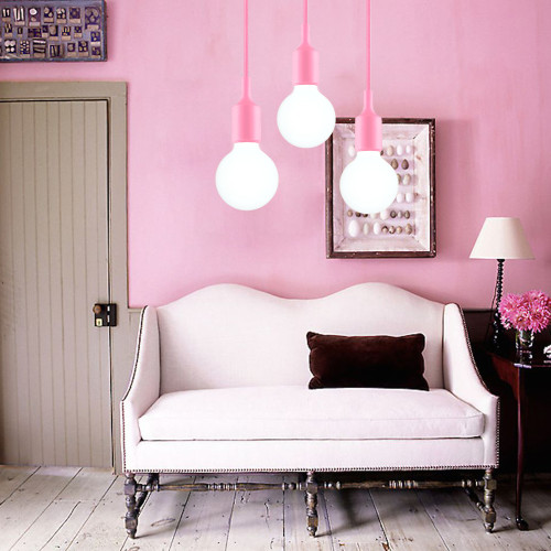 Pink LED Ceiling Hanging Pendant Light Fixture with G95 LED Globe Light Bulb Cool White Lighting Maximum 168CM Adjustable Height 1 Lamp and 1 LED Bulb