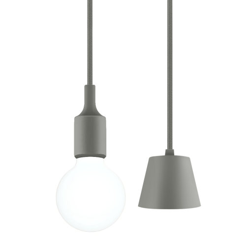 Grey LED Hanging Ceiling Pendant Lamp Light Fixture with G95 LED Large Globe Light Bulb 6W Cool White Lighting Length Maximum 168CM 1 Lamp and 1 LED Bulb