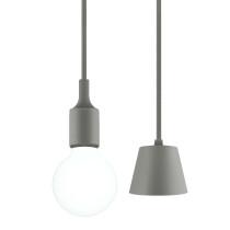 Grey LED Hanging Ceiling Pendant Lamp Light Fixture with G95 LED Large Globe Light Bulb 6W Cool White Lighting Length Maximum 168CM 1 Lamp and 1 LED Bulb