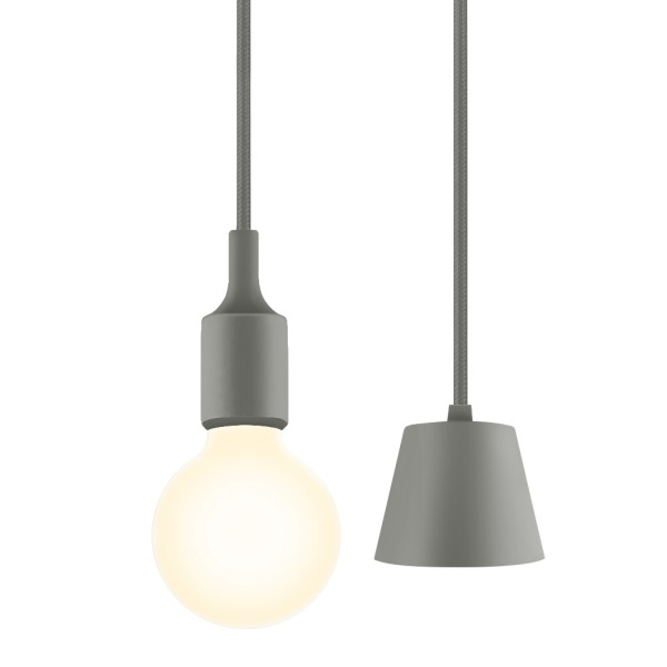 Grey LED Ceiling Hanging Pendant Light Kit with G95 LED Globe Light Bulb Warm White Lighting for Dining Room Maximum 168CM Adjustable Height 1 Lamp and 1 LED Bulb