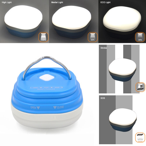 Battery Powered LED Camping Light Outdoor Portable LED Camping Tent Lantern Lamp Brightness Dimmable and 5 Lighting Modes Adjustable Powered by 3X AAA Batteries Essential Camping Accessory