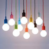 Pink LED Ceiling Hanging Pendant Light Fixture with G95 LED Globe Light Bulb Cool White Lighting Maximum 168CM Adjustable Height 1 Lamp and 1 LED Bulb