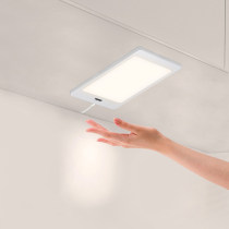 Touchless Hand Sensor 5W LED Under Cabinet Cupboard Lamp Panel Light with DC12V Hardwired Connection and Power Adapter Neutral White Lighting 4000K