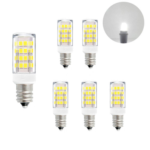 E12 SES Small Screw LED Capsule Corn Light Bulbs 5W 400Lm Cool White 6000K AC110-120V Replace 40W Incandescent Candle Light Bulbs for Chandelier Candelabra Mirror Lamps 6 Pack